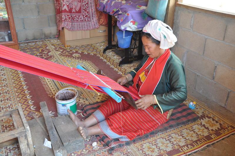 Palong woman weaving, Chiang Dao, Chiang Mai.